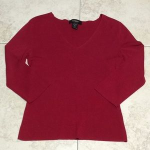 Express V-Neck Sweater Blouse Top Women's M Red